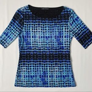 Cable & Gauge abstract geometric short sleeve top